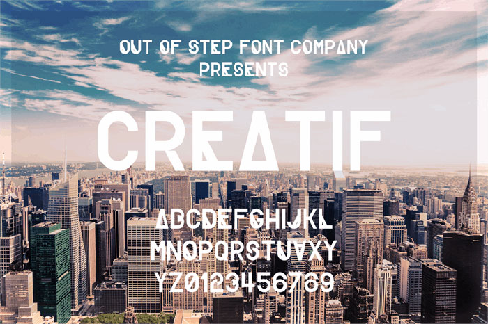 Creatif free geometric font. See more fonts like this at www.designyourownblog.com