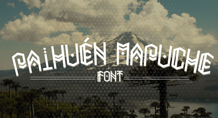 Paihuen Mapuche free geometric font. See more fonts like this at www.designyourownblog.com