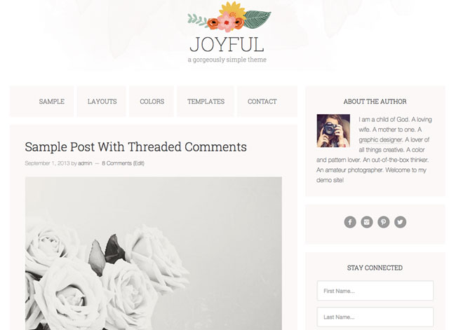 Joyful, a watercolor WordPress theme. See more watercolor themes and templates at DesignYourOwnBlog.com