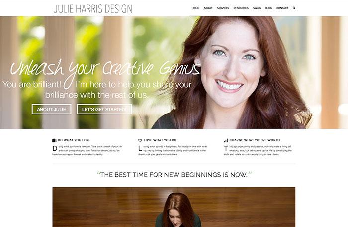 JulieHarrisDesign.com's recent redesign