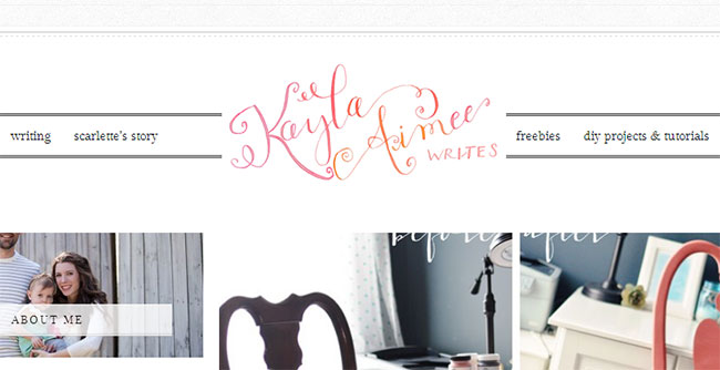 Kayla Aimee adds a simple touch of watercolor as an effect on her logo text.