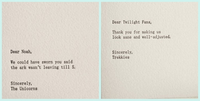 Funny letterpress cards from shopsaplingpress