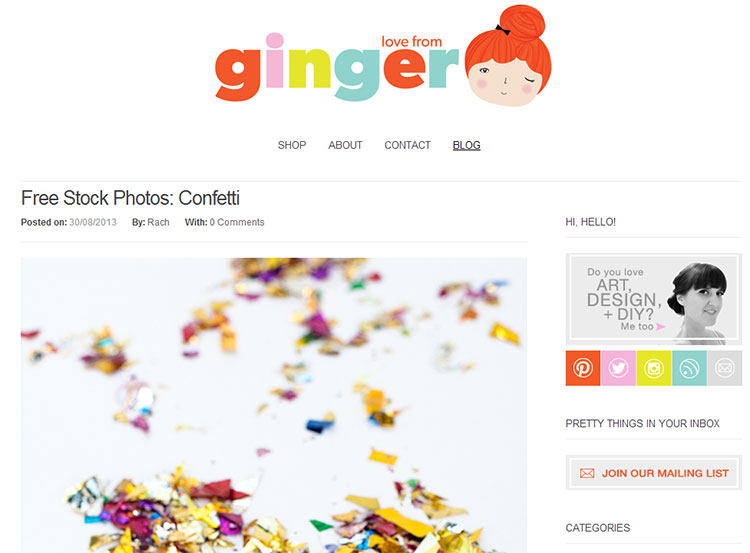 Lovely Blog Design: Love from Ginger