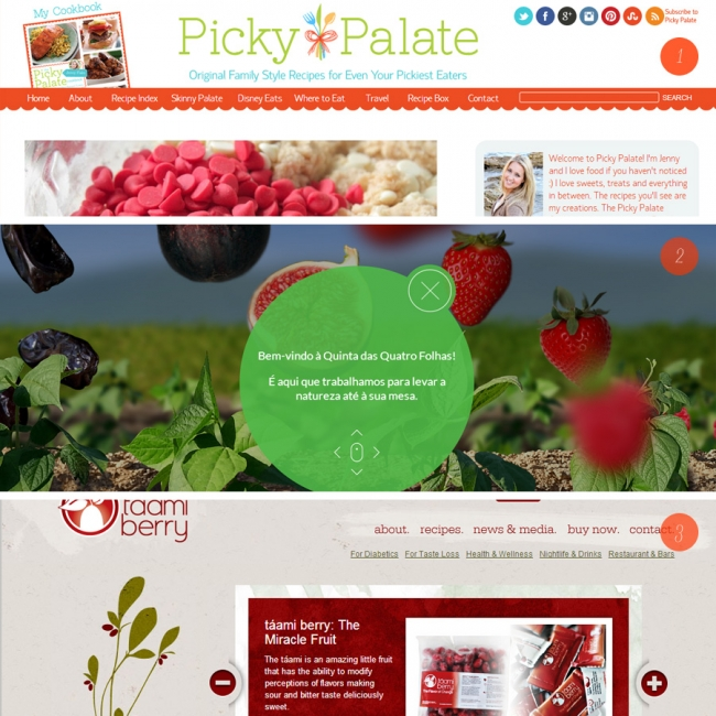Reds and green palettes work well for food websites because it looks fresh