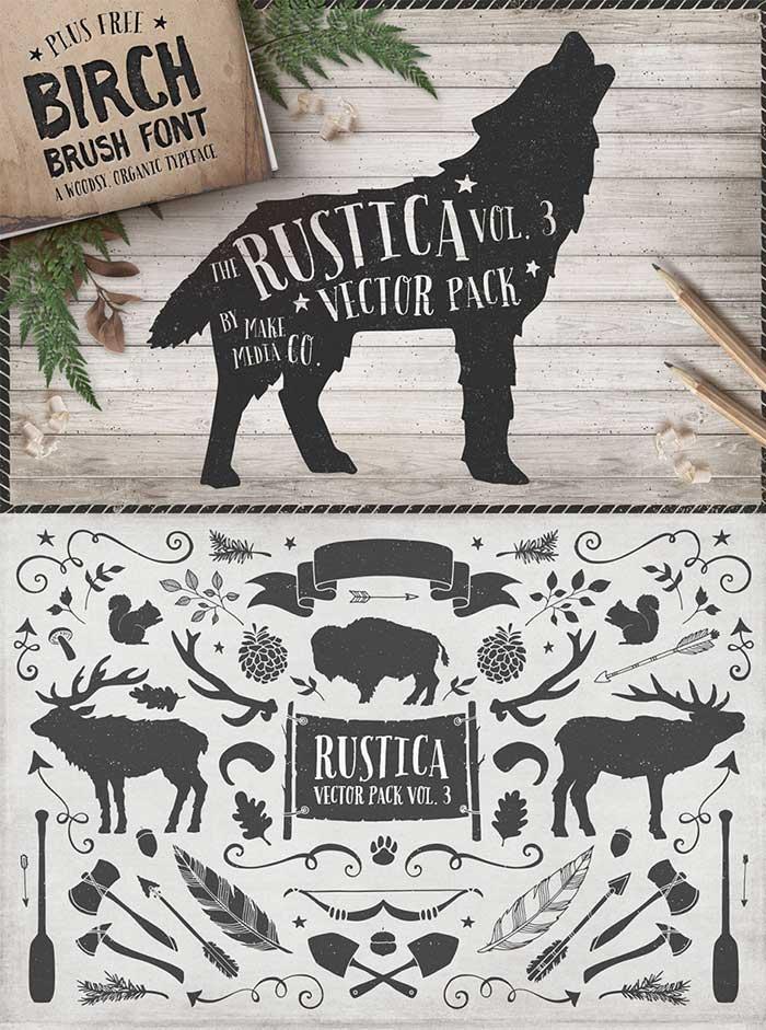 Rustica Vol. 3 + Birch Brush Font by Make Media Co.