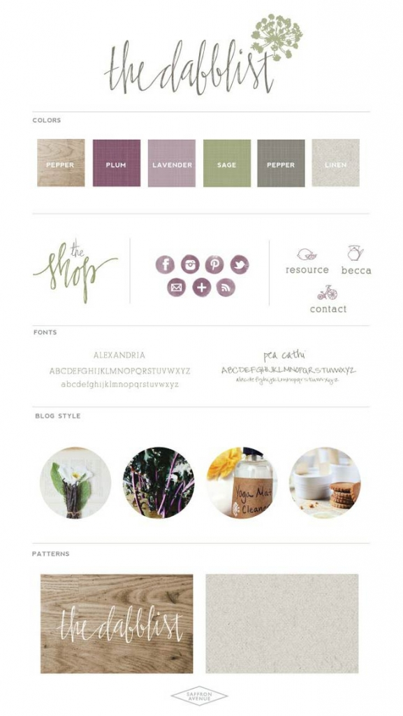 Saffronavenue.com mood board shows that purples with olive greens are earthy
