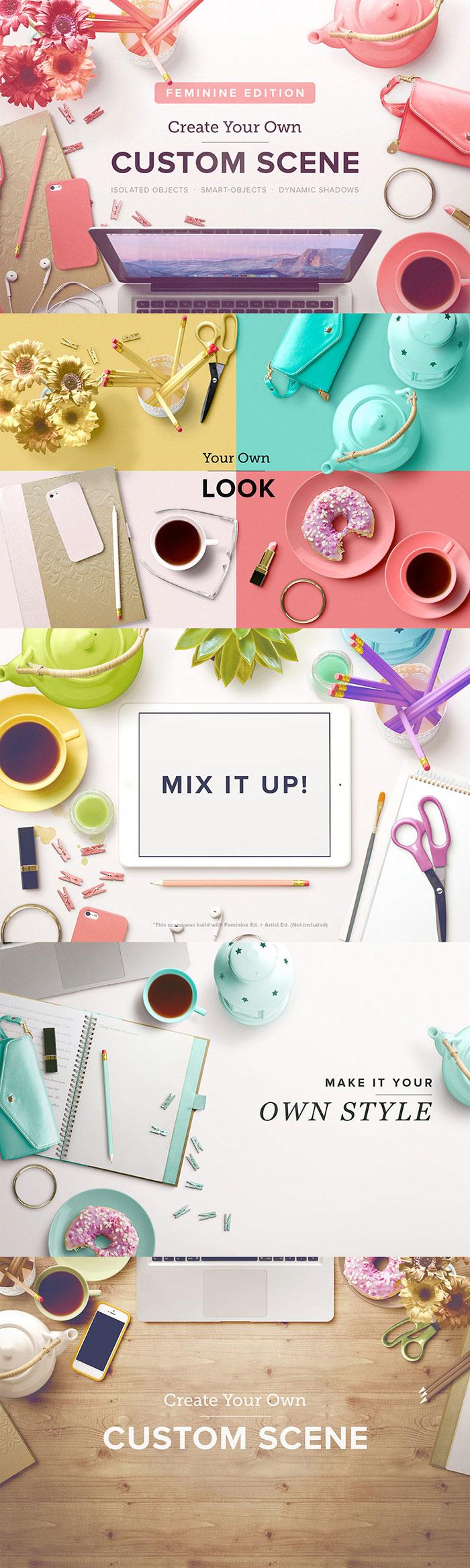 Custom Scene Generator - Styled Desktops – Feminine Ed. – Vol. 1  from Roman Jusdado. The Beautifully Artistic Designer's Kit (1000s of Creative Resources) for just $29