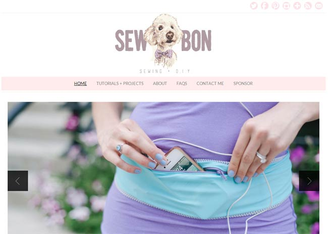 sewbon.com's soft purple and pink scheme is girly and sweet