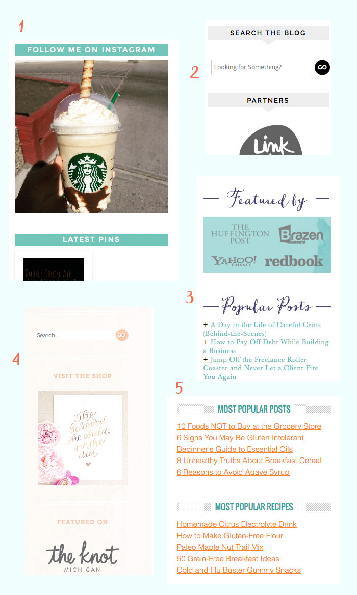 Use titles and/or borders to give clear visual separation to your sidebar items. Learn more about making attractive sidebars over at DesignYourOwnBlog.com!