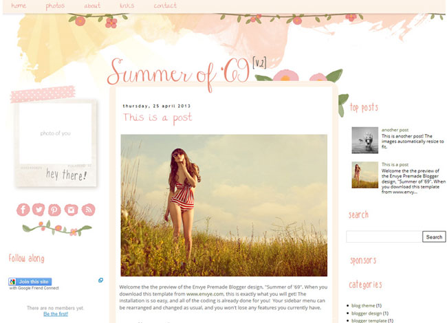 Summer of 69 Blogger template. See more watercolor themes and templates at DesignYourOwnBlog.com