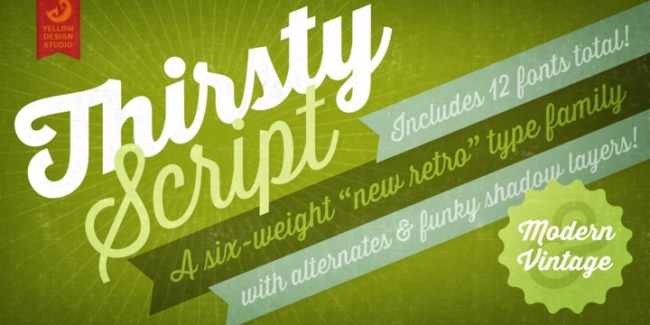 Thirsty script, one of 20 beautiful fat brush scripts at DesignYourOwnBlog.com