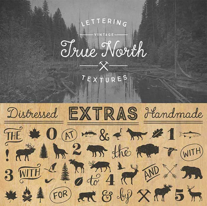 True North Textures is part of the 15 font families for $15 bundle!