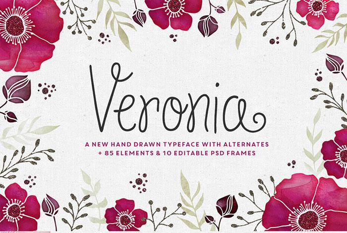 Veronia Typeface + Frames.