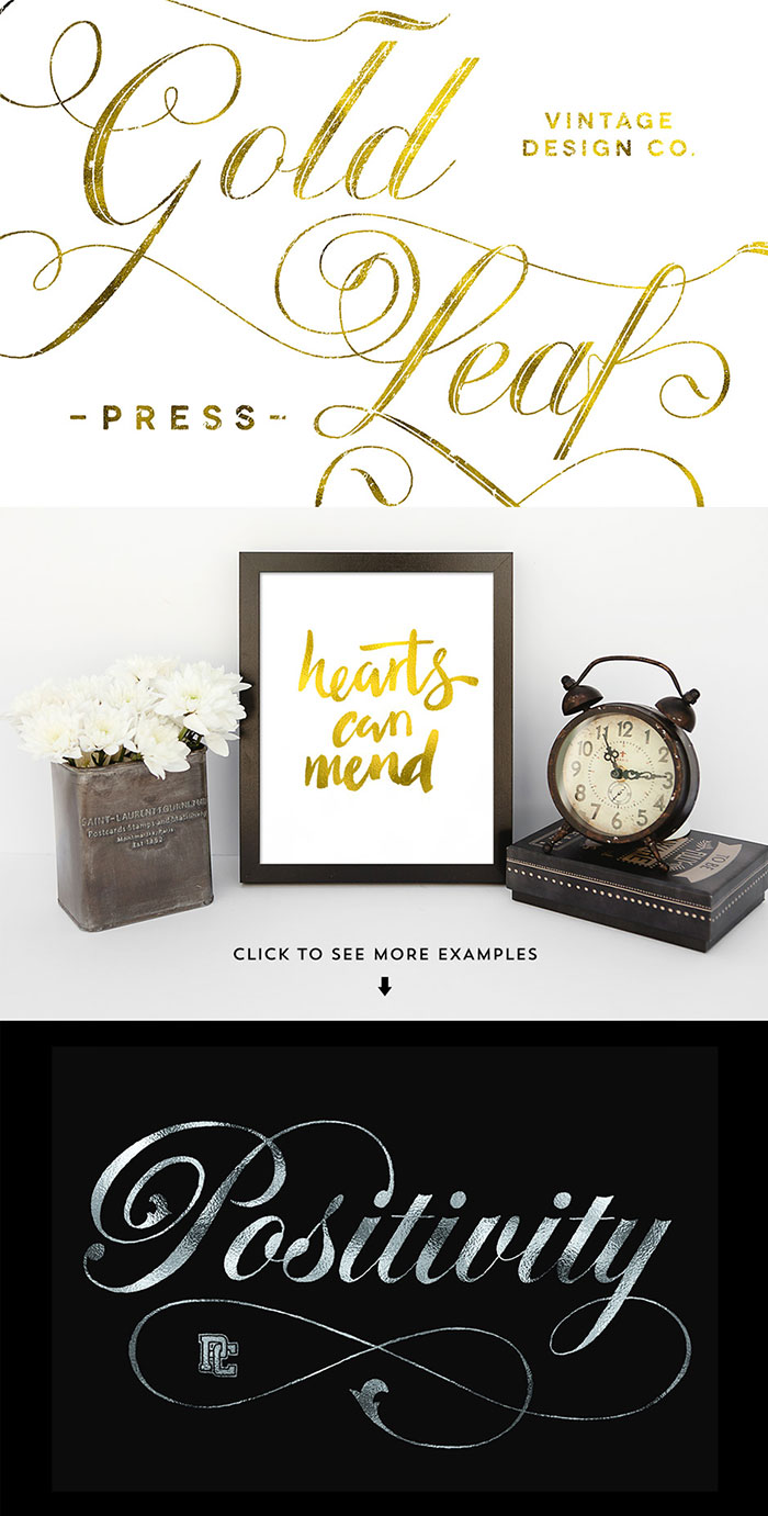 Gold Leaf Press – V2. Add a touch of class to your type, hand lettering and calligraphy with realistic Gold Leaf effects in this easy to use Photoshop smart PSD.