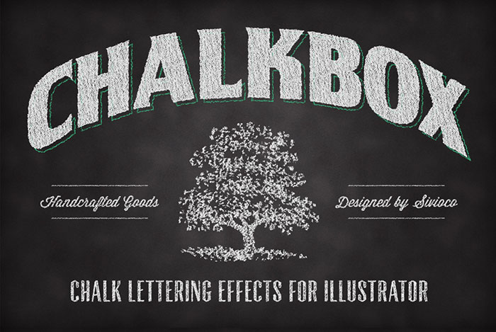 Chalkbox is a set of 14 Graphic Styles for Adobe Illustrator that enables you to apply chalk lettering effects to your designs with just one click.