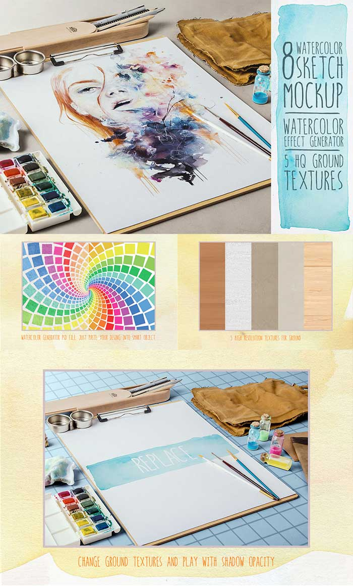 Watercolor Sketch Mock Up and Watercolor Painting Studio Vol. 03 included in the Design Cuts bundle.