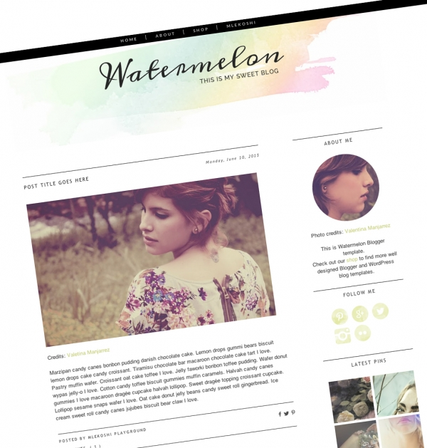 Watermelon Blogger template. See more watercolor themes and templates at DesignYourOwnBlog.com