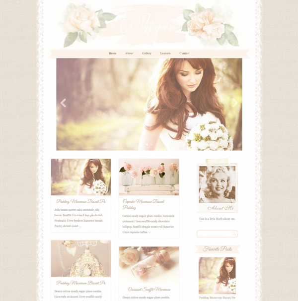 Whisper, a responsive watercolor WordPress theme. See more watercolor themes and templates at DesignYourOwnBlog.com